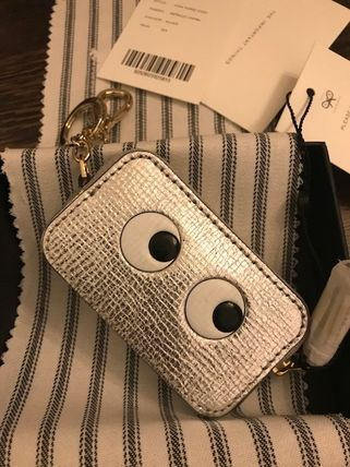 Unisex Street Style Leather Long Wallet  Logo Coin Cases