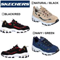 SKECHERS Gingham Round Toe Rubber Sole Casual Style Street Style