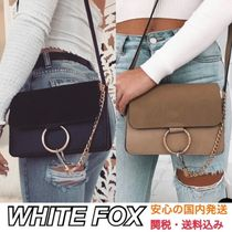 WHITE FOX Casual Style Faux Fur Plain Shoulder Bags
