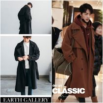 Stand Collar Coats Other Check Patterns Street Style Long