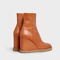 CELINE Plain Toe Plain Leather Elegant Style Wedge Boots