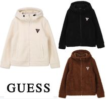 Guess Short Street Style Long Sleeves Plain Oversized Cropped