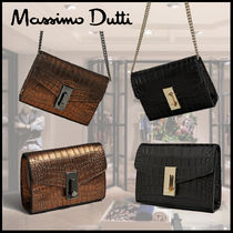 Massimo Dutti Crocodile Leather Elegant Style Shoulder Bags