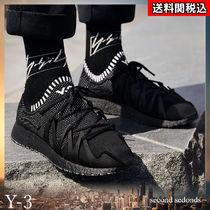 Y-3 Plain Toe Rubber Sole Casual Style Suede Blended Fabrics