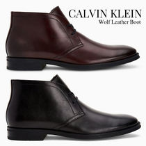 Calvin Klein Plain Toe Plain Leather Chukkas Boots