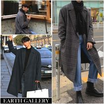 Stand Collar Coats Wool Plain Long Parkas