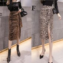 Pencil Skirts Leopard Patterns Casual Style Medium