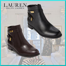 Ralph Lauren Round Toe Casual Style Plain Leather Block Heels