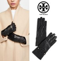 Tory Burch MILLER Plain Leather Leather & Faux Leather Gloves