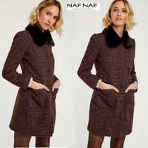 NAF NAF Faux Fur Plain Medium Elegant Style Peacoats