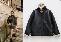 Faux Fur Plain Fur Leather Jackets Cashmere & Fur Coats