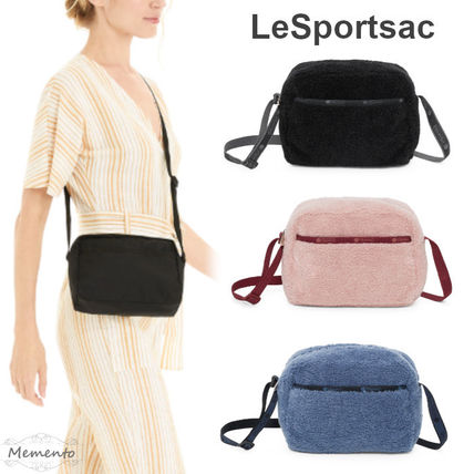 Casual Style Plain Crossbody Shearling Logo Shoulder Bags