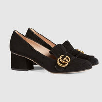 GUCCI GG Marmont Casual Style Suede Plain Office Style Elegant Style
