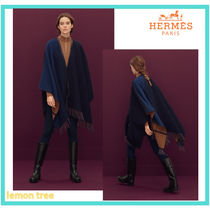 HERMES Tartan Wool Cashmere Blended Fabrics Ponchos & Capes