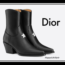Christian Dior Star Cowboy Boots Casual Style Bi-color Plain Leather