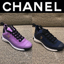 CHANEL MATELASSE Plain Toe Rubber Sole Casual Style Blended Fabrics