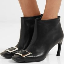 Roger Vivier Square Toe Bi-color Plain Leather Pin Heels Party Style