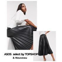TOPSHOP Flared Skirts Casual Style Maxi Faux Fur Pleated Skirts