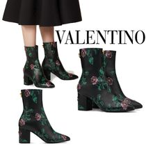 VALENTINO Flower Patterns Plain Toe Studded Leather Block Heels