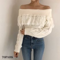 Cable Knit Casual Style Long Sleeves Medium Sweaters