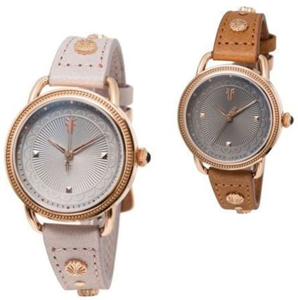Casual Style Studded Leather Round Quartz Watches Stainless