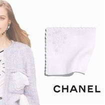 CHANEL Flower Patterns Linen Plain Handkerchief