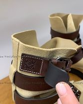 LOEWE Suede Leather Logo Ankle & Booties Boots