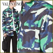 VALENTINO Button-down Camouflage Nylon Street Style Long Sleeves