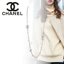 CHANEL Casual Style Blended Fabrics Party Style Silver Brass