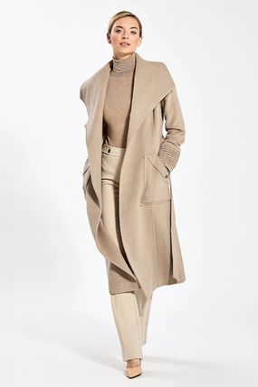 Plain Long Office Style Wrap Coats