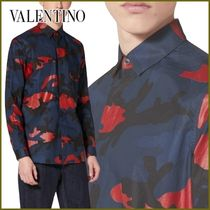 VALENTINO Button-down Camouflage Street Style Long Sleeves Cotton