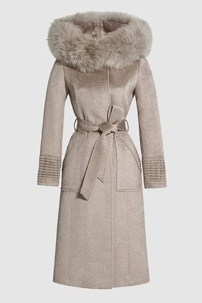 Fur Plain Long Wrap Coats