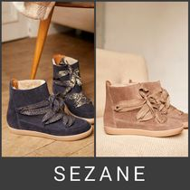 SEZANE Casual Style Leather Boots Boots
