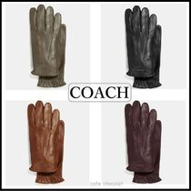 Coach Plain Leather Khaki Leather & Faux Leather Gloves