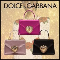 Dolce & Gabbana Heart Calfskin 2WAY Plain Elegant Style Shoulder Bags