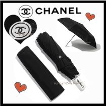 CHANEL ICON Monogram Unisex Plain Umbrellas & Rain Goods