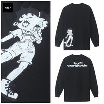 HUF Unisex Street Style Collaboration Long Sleeves Cotton