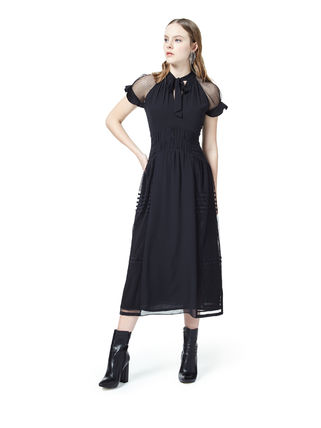 Dots A-line Plain Medium Short Sleeves Elegant Style Dresses