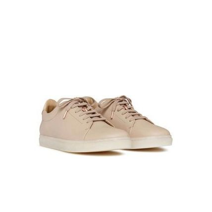 Plain Leather Elegant Style Low-Top Sneakers