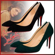 Christian Louboutin Eloise Plain Toe Suede Velvet Plain Pin Heels Office Style