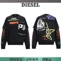 DIESEL Crew Neck Street Style Long Sleeves Plain Cotton Logo