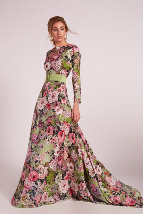 Flower Patterns Maxi Flared Boat Neck Long Sleeves Long
