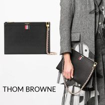 THOM BROWNE Casual Style Unisex Logo Clutches