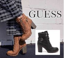 Guess Round Toe Lace-up Casual Style Faux Fur Plain Chunky Heels