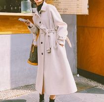 Casual Style Wool Street Style Long Chester Coats