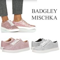 Badgley Mischka Round Toe Rubber Sole Lace-up Casual Style Blended Fabrics