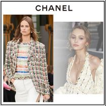 CHANEL Crew Neck Other Plaid Patterns Tweed Blended Fabrics