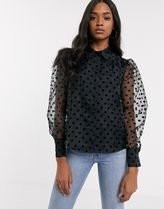 MANGO Dots Casual Style Puffed Sleeves Medium Party Style