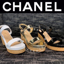 CHANEL ICON Open Toe Casual Style Street Style Plain Leather Handmade
