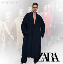 ZARA Wool Plain Long Oversized Elegant Style Chester Coats